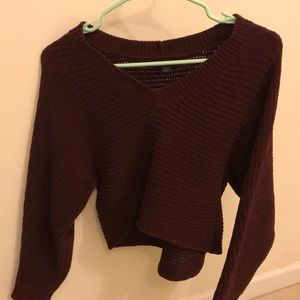 XS Maroon Cropped V-Neck American Eagle Sweater